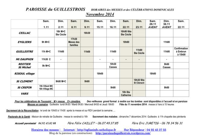 horaire des messes novembre