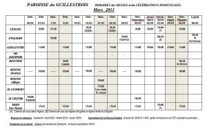 Horaires  messes    mars 2015